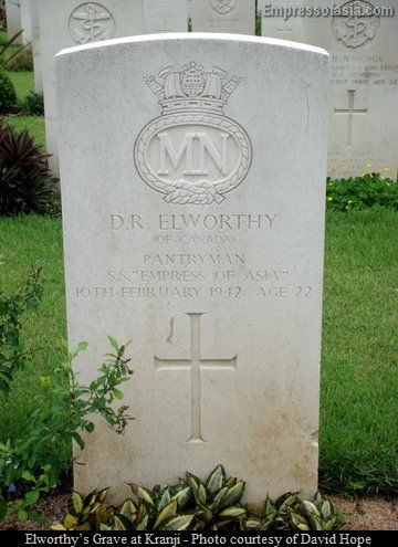 Elworthy's grave a Kranji War Cemetery in Singapore