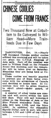 The Daily Colonist, October 25, 1919,  page 17.