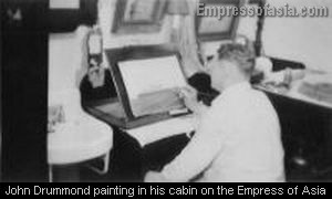 "John Drummond painting the ""Empress of Asia"" in his quarters"